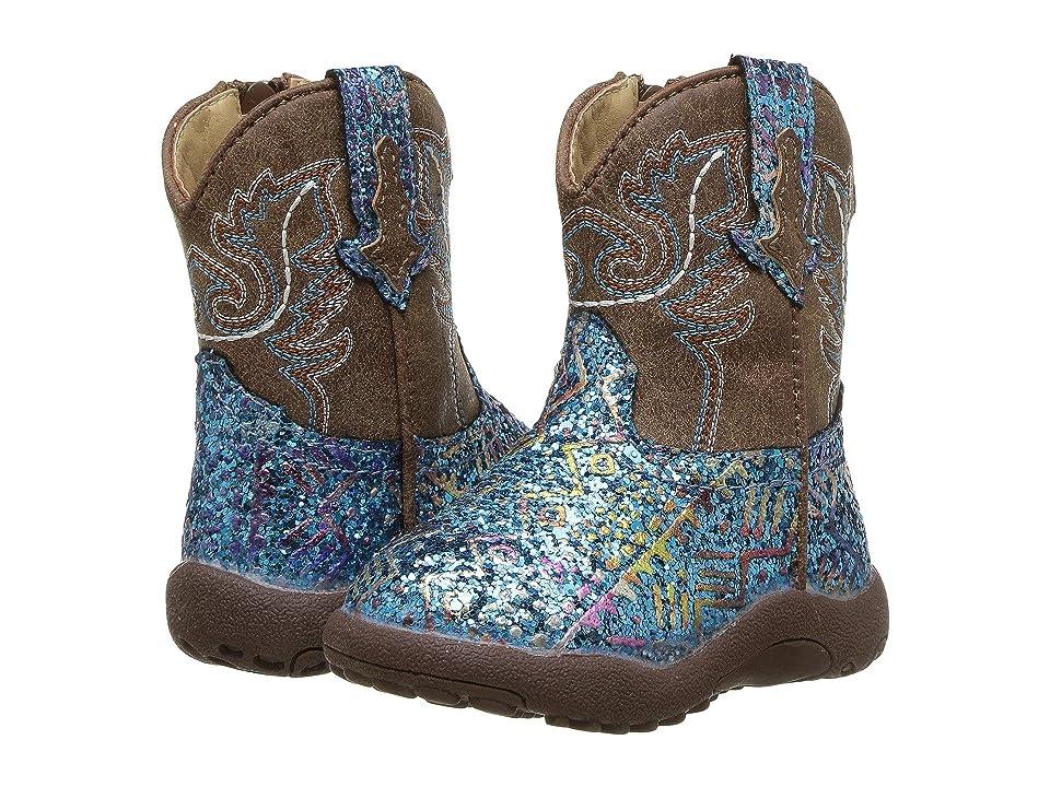 Roper Kids Glitter Aztec (Infant/Toddler) (Blue Faux Glitter Vamp/Brown Shaft) Cowboy Boots