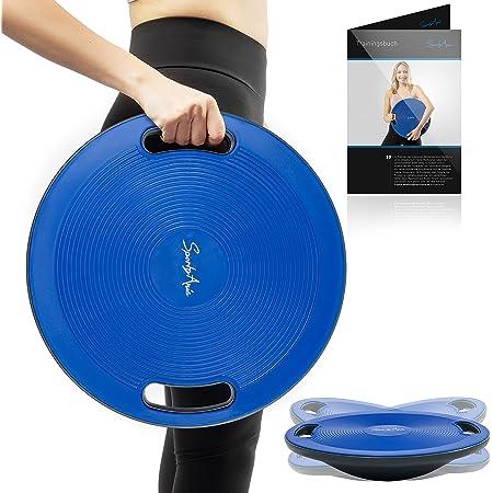 SportyAnis® Premium Balance-Board inkl. Übungsbuch, Durchmesser 42 cm - Wackelbrett Therapiekreisel mit Griffen für Physiotherapie zur Stärkung der Tiefenmuskulatur (Blau)
