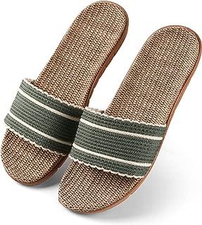 Aerusi Women's Casual Flax Linen Open Toe House Slipper Slides Sandals Flip Flop