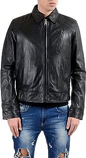Just Cavalli Men's 100% Leather Black Full Zip Jacket US S IT 48