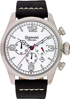 Gigandet Men's Quartz Watch Daydream Aviator Chronograph Analog Leather Strap Black White G20-001