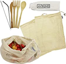 2 Sets of Reusable Wooden Bamboo Travel Utensils Set with 3 Cotton Reusable Mesh Produce Bags by AVIKIND