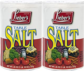 Lieber's Table Salt, Kosher For Passover, 26 Ounce Canister (2-Pack)