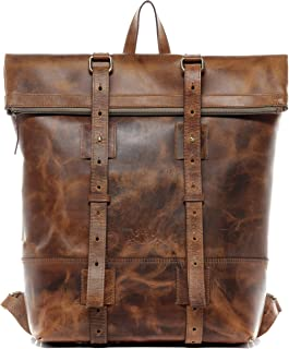 SID & VAIN Rucksack echt Leder CHAZ | Vintage-Look | XXL groß Backpack Tagesrucksack Kurierrucksack 15,4 Zoll Lederrucksack Herren
