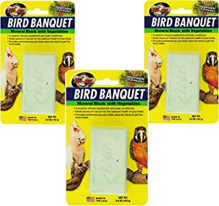 Zoo Med (3 Pack) Mineral Block with Vegetables Bird Banquet, 5-Ounce Each