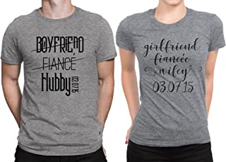 92a7084709 Hubby Wifey Couple Newly Married Couple Matching T-Shirt Honeymoon  Valentines