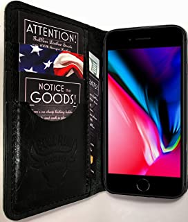 iPhone 7 Case / iPhone 8 Case, iPhone 7 Wallet Case Genuine Leather, Best Screen Protector, Folio Case / iPhone 8 Flip Case, Distressed American Full Grain Leather, Made in USA, (Black)