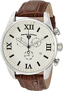 Swiss Legend Men's Bellezza Stainless Steel Swiss-Quartz Watch with Leather Calfskin Strap, Brown, 21 (Model: 22011-02S-BRN)