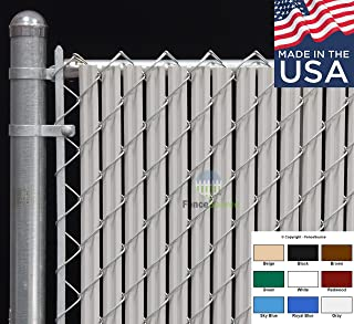 Fence Source Wave Slat™ (9 Colors) Single Wall Bottom Locking Privacy Slat for 4', 5', 6', 7' and 8' Chain Link Fence (6 ft, Gray)