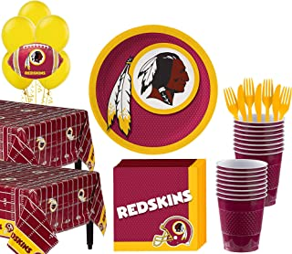 Party City Washington Redskins Super Party Supplies for 36 Guests, Include Plates, Napkins, Table Covers, and Balloons
