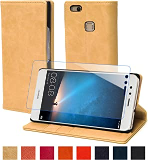 steady advance 最高級 本革 (牛革) Huawei P9 lite ファーウェイ スマホ ケース 手帳型 < 硬度 9H 強化 ガラスフィルム > セット (HuaweiP9 lite, カメオベージュ)