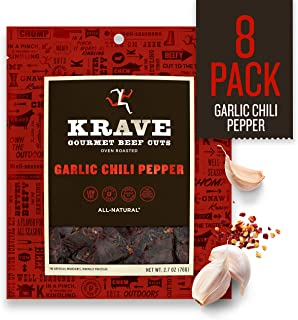 KRAVE Jerky Gourmet Beef Cuts, Garlic Chili Pepper, 2.7 Ounce (Pack Of 8)