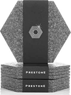 Coasters For Drinks Set of 9   Absorbent Felt Coasters With Double Holder, Unique Phone Coaster   Premium Package, Perfect Housewarming Gift Idea   Protects Furniture, Table, Desk (Hexagon, Gray)