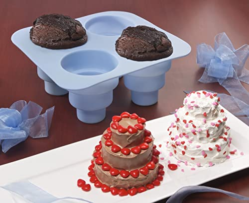 popular 4 CAVITY 3 TIERED SILICONE new arrival CAKE MOLD - outlet online sale MAKES 4 MINI 3 TIERED CAKES AT THE SAME TIME! outlet online sale