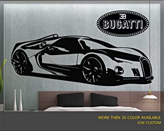 "JCM Custom Bugatti Renaissance GT Super Sport Car Removable Wall Vinyl Decal Stickers 60"" X 22"""