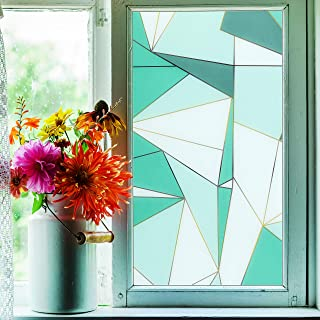 Privacy Window Film, Translucent Static Cling Treatment Frosted Window Sticker w/ Geometric Patterns - Decorative Opaque G...
