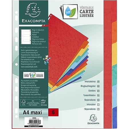 Exacompta - Réf. 2606E - Intercalaires en véritable carte lustrée rigide 400g/m2 FSC avec 6 onglets neutres - Page d'indexation fournie - Format à classer A4 maxi - Dimensions 24,5 x 29,7 cm