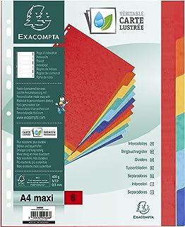Exacompta - Réf. 2606E - Intercalaires en véritable carte lustrée rigide 400g/m2 FSC® avec 6 onglets neutres - Page d'inde...