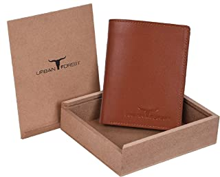 Urban Forest Toronto Cognac Leather Wallet for Men - Packed in Premium Wooden Box for Festive Gifting