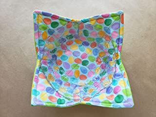 Jelly Bean Microwave Bowl Cozy Pastel Reversible Microwave Potholder Non Candy Easter Basket Stuffers Pastel Baby Blue Multicolor Kitchen Linens Handmade Teacher Gifts Under 10
