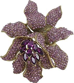 TTjewelry Classic Crystal Rhinestone Large Flowers Orchid Brooch Pins Woman Jewelry B10461600