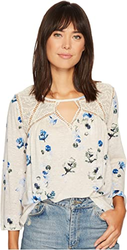Floral Lace Mix Peasant Top