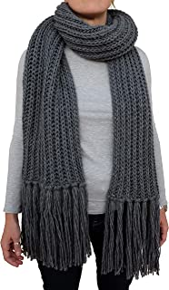 CG - Talento Fiorentino, sciarpona invernale, sciarpa fatta a maglia col. Grigio, con frange applicate a mano, unisex, fat...