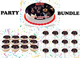 ACDC Party Supplies 3 Pc Set Including Edible Image Round Cake Topper Frosting Sugar Sheet, Personalized Cupcakes, Lollipops Decorations