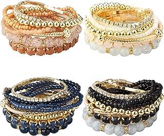 2-4 Sets Stackable Bracelets for Women Girls Multilayer Beaded Bracelets Stretch Bangles Bohemian Style