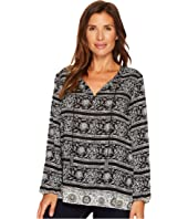 Tribal - Long Sleeve Printed Blouse w/ Tassel