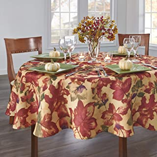"""Elrene Home Fashions Festival Printed Fabric Tablecloth for Fall/Harvest/Thanksgiving, 70"""" Round, Multi"""