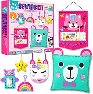 KRAFUN Beginner My First Sewing Kit for Kids Art & Craft, Includes 6 Easy Projects Stitch Stuffed Animal Dolls and Plush C...