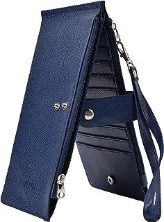 Yeeasy RFID Blocking Women's Leather Bifold Wallet Thin Zipper Card Holder Wallet Purse