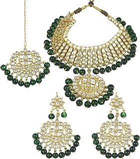 2cc555ce27 Karatcart 22K GoldPlated Traditional Kundan Pearl Green Choker Jewellery  Set for Women