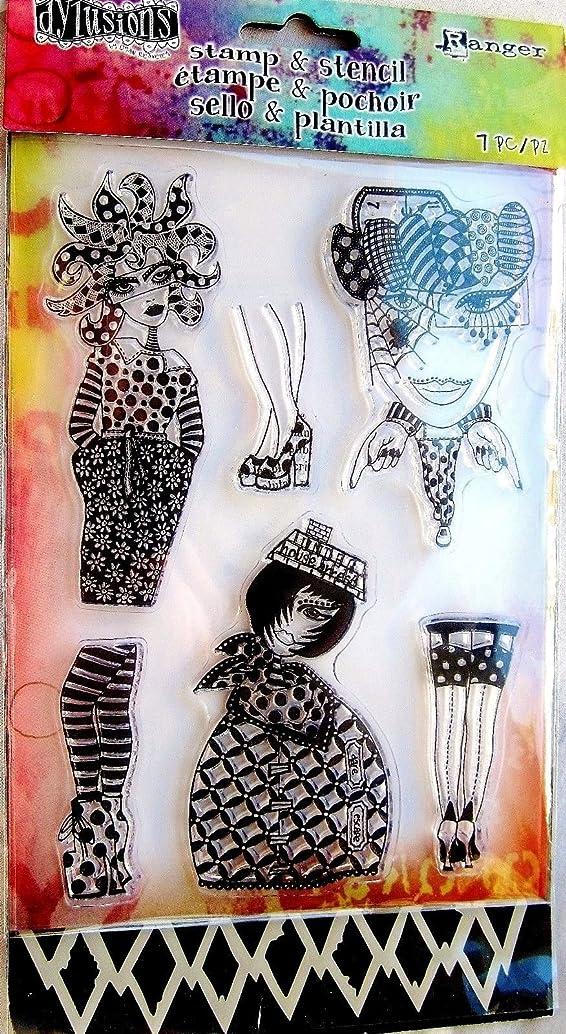 Dylusions Stamps & Stencil - Black Diamonds