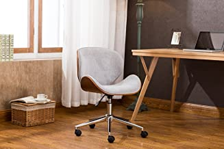Porthos Home Branson Mid-century Style Office Chairs With Fabric Upholstery, Adjustable Height, 360° Swivel And Stainless Steel Legs, Gray