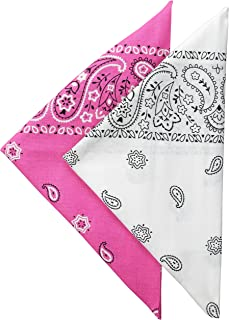 Levi's Men's 2 Pack 100% Cotton Multi-Purpose Bandana Gift Sets – Headband, Face Mask,Wrap, Pink/White, One Size