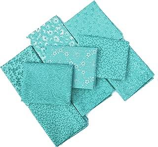 DL Color Collection Fabric | Fat Quarter Bundle | Precut Quilting Cotton | Set of 9 (Teal)