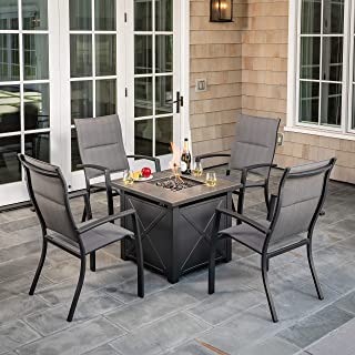 Hanover NAPLES5PCHBFP-GRY Naples 5-Piece Chat Set Featuring 4 Padded Sling Chairs and 40,000 BTU Tile-Top Fire Pit Table Outdoor Furniture, Gray