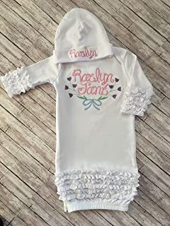 Baby Girl Personalized Coming Home Outfit Newborn Coming Home Gown and Hat  Personalized Infant Girl Gown 77cf97f6698e