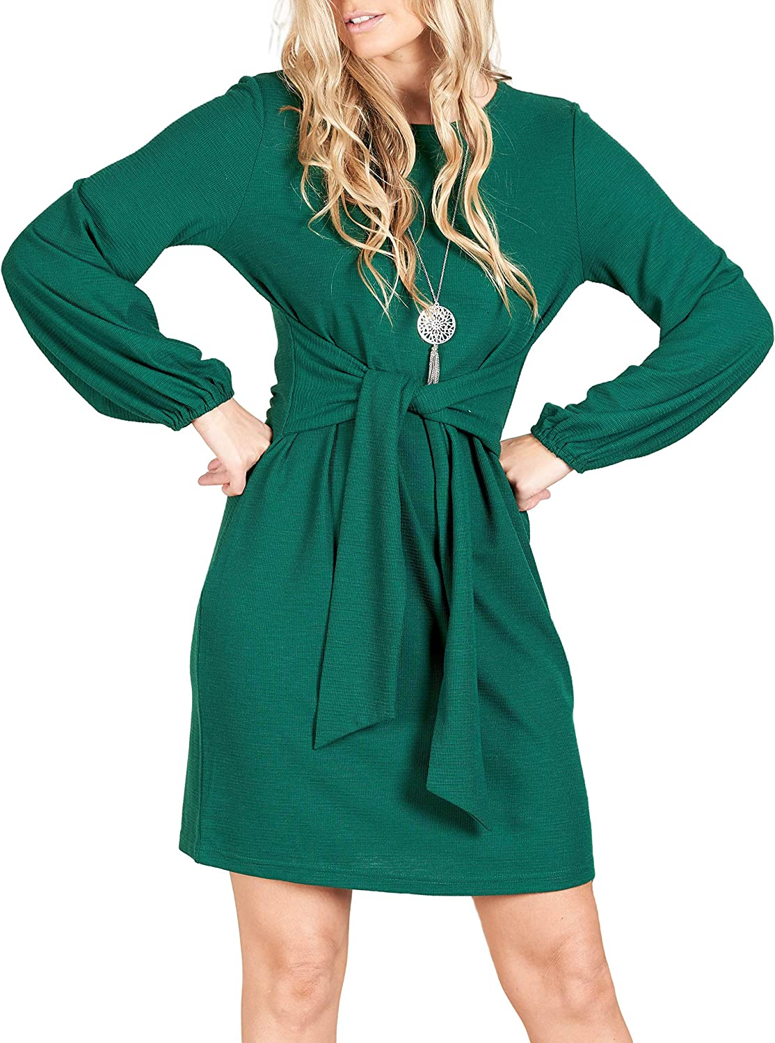 lionstill Women's Elegant Long Sleeve Swe Tie Max 43% OFF Casual Dress Waist We OFFer at cheap prices