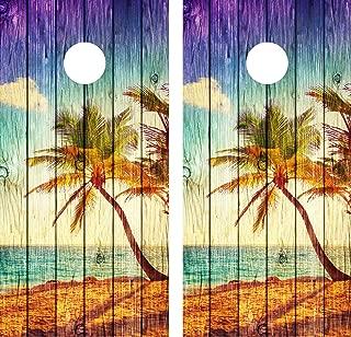 beach cornhole decals