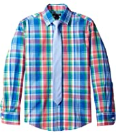 Tommy Hilfiger Kids Long Sleeve J&J Plaid with Tie (Big Kids)