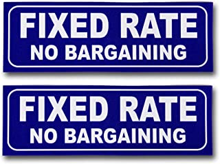 """eSplanade Fixed Price No Bargaining Sign Sticker Decal - Easy to Mount Weather Resistant Long Lasting Ink Size (9"""" x 3"""")"""