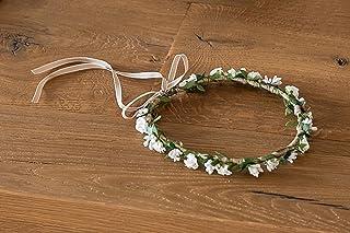Diadema comunion de flores blancas ajustable diametro aprox.20 cm