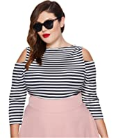 Unique Vintage - Plus Size Jagger Cold Shoulder Top