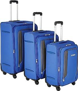 Amazon Brand - Solimo Blue Softsided Suitcase Set with Wheels, 78 cm + 68cm + 58cm
