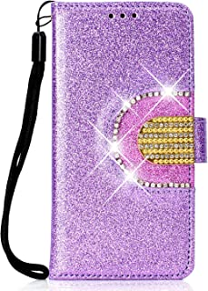 Lomogo Glitter Huawei Y6 2018/Y6 Prime 2018 Case Leather Wallet Case with Kickstand Card Holder Shockproof Flip Case Cover for Huawei Y6 2018/Honor 7A - LOHHA090263 Purple