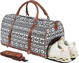 حقيبة سفر كبيرة الحجم من القماش الخشن مع حقيبة أحذية، حقيبة جلدية للحمل