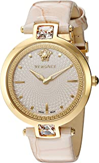 Versace Women's 'Crystal Gleam' Swiss Quartz Stainless Steel and Leather Casual Watch, Color:Grey (Model: VAN050016)